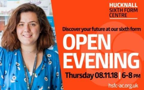 Hucknall Sixth Form Centre Open Evening – 8 November 2018